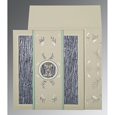 Black Matte Embossed Wedding Card : SO-1261 - 123WeddingCards