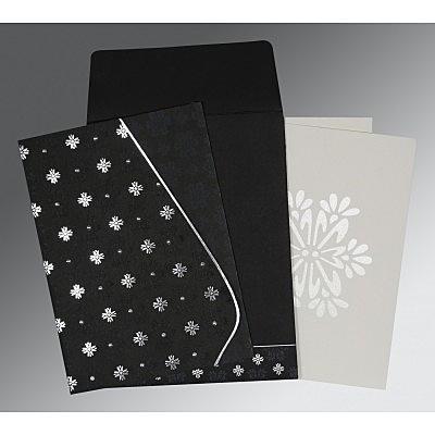 Black Matte Floral Themed - Foil Stamped Wedding Invitation : D-8237H - 123WeddingCards