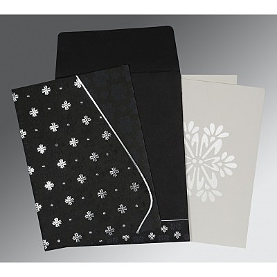 Black Matte Floral Themed - Foil Stamped Wedding Invitation : I-8237H - 123WeddingCards