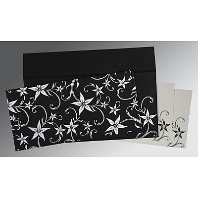 Black Matte Floral Themed - Screen Printed Wedding Invitation : S-8225A - 123WeddingCards