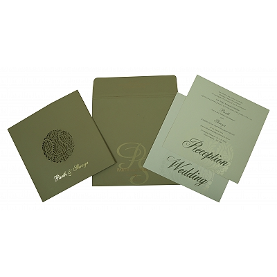 DEEP SAGE MATTE FLORAL THEMED - LASER CUT WEDDING INVITATION : I-1815 - 123WeddingCards