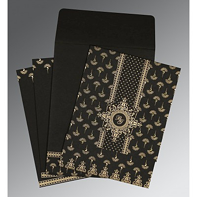 Black Matte Screen Printed Wedding Invitations : IN-8247B - 123WeddingCards