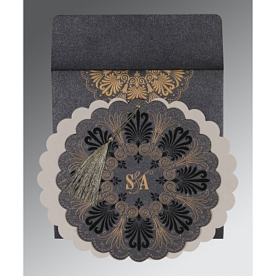 GRAPHITE GREY SHIMMERY FLORAL THEMED - EMBOSSED WEDDING CARD : IN-8238D - 123WeddingCards