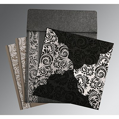 Black Shimmery Floral Themed - Screen Printed Wedding Invitations : D-8235I - 123WeddingCards