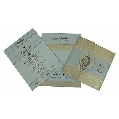 Black Shimmery Foil Stamped Wedding Invitation : I-1801 - 123WeddingCards