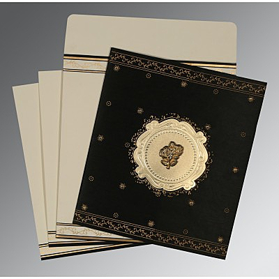 Black Wooly Embossed Wedding Invitation : C-8202K - 123WeddingCards