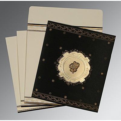 Black Wooly Embossed Wedding Invitations : C-8202K - 123WeddingCards