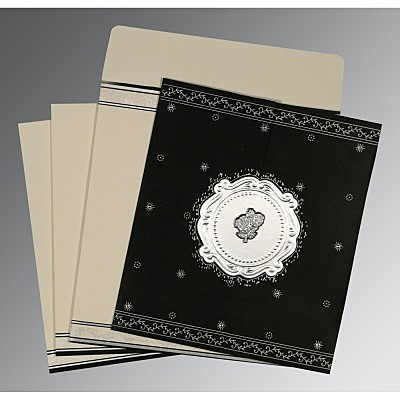 Black Wooly Embossed Wedding Invitations : C-8202L - 123WeddingCards