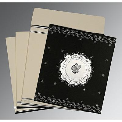 Black Wooly Embossed Wedding Invitation : C-8202L - 123WeddingCards