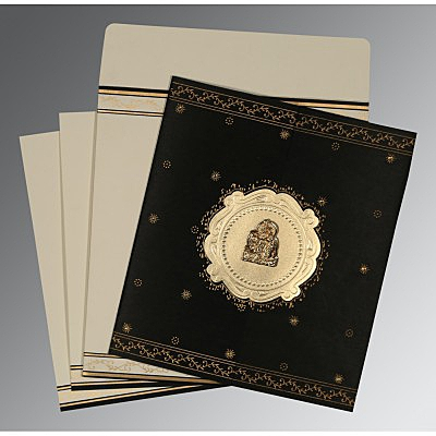 Black Wooly Embossed Wedding Invitation : G-8202K - 123WeddingCards