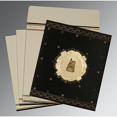 Black Wooly Embossed Wedding Invitation : I-8202K - 123WeddingCards