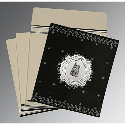 Black Wooly Embossed Wedding Invitations : I-8202L - 123WeddingCards