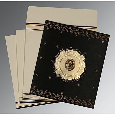Black Wooly Embossed Wedding Invitation : RU-8202K - 123WeddingCards