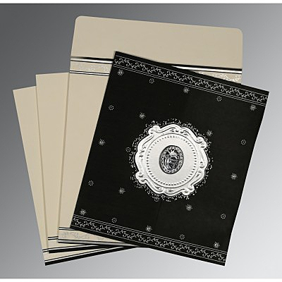 Black Wooly Embossed Wedding Invitation : RU-8202L - 123WeddingCards