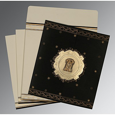 Black Wooly Embossed Wedding Invitations : SO-8202K - 123WeddingCards