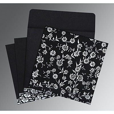 Black Wooly Floral Themed - Screen Printed Wedding Card : I-8222J - 123WeddingCards