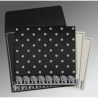Black Wooly Floral Themed - Screen Printed Wedding Card : IN-8218L - 123WeddingCards