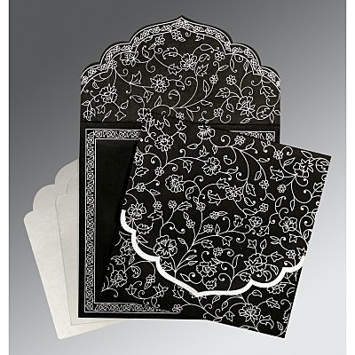 Black Wooly Floral Themed - Screen Printed Wedding Invitation : S-8211B - 123WeddingCards