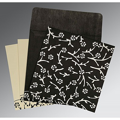 Black Wooly Floral Themed - Screen Printed Wedding Invitation : S-8216N - 123WeddingCards