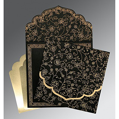 Black Wooly Floral Themed - Screen Printed Wedding Invitation : W-8211N - 123WeddingCards