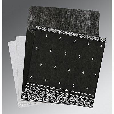 Black Wooly Foil Stamped Wedding Invitations : C-8242B - 123WeddingCards