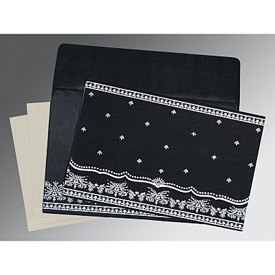 Black Wooly Foil Stamped Wedding Invitations : D-8241O - 123WeddingCards