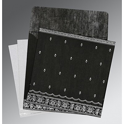 Black Wooly Foil Stamped Wedding Invitations : RU-8242B - 123WeddingCards