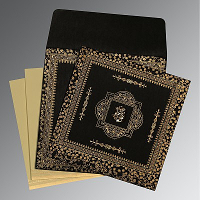 Black Wooly Glitter Wedding Card : C-8205K - 123WeddingCards