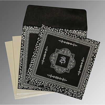 Black Wooly Glitter Wedding Invitations : C-8205L - 123WeddingCards