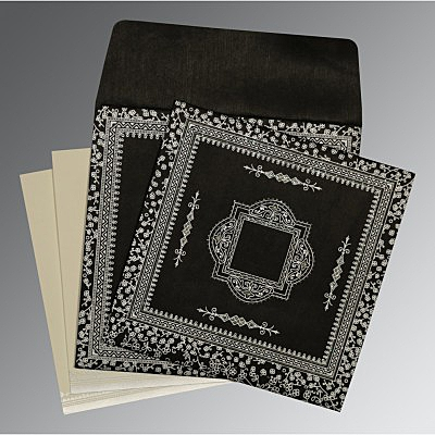 Black Wooly Glitter Wedding Card : D-8205L - 123WeddingCards