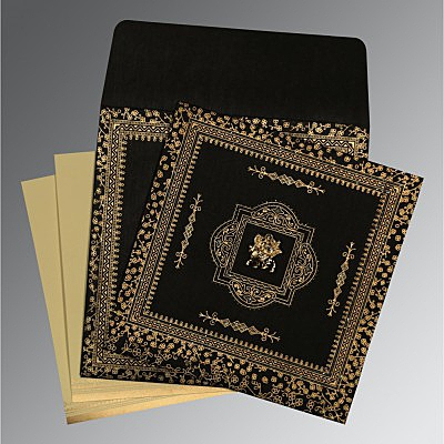 Black Wooly Glitter Wedding Invitations : G-8205K - 123WeddingCards