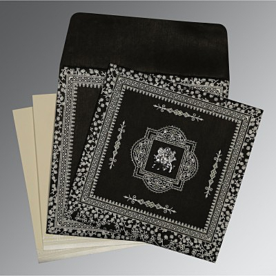 Black Wooly Glitter Wedding Invitations : G-8205L - 123WeddingCards