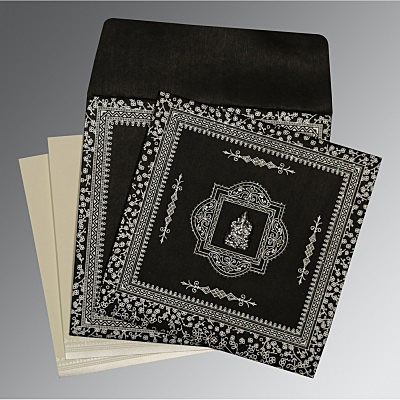 Black Wooly Glitter Wedding Card : IN-8205L - 123WeddingCards