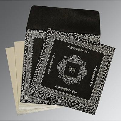 Black Wooly Glitter Wedding Card : S-8205L - 123WeddingCards