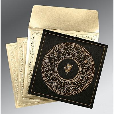 Black Wooly Screen Printed Wedding Invitations : C-8214D - 123WeddingCards