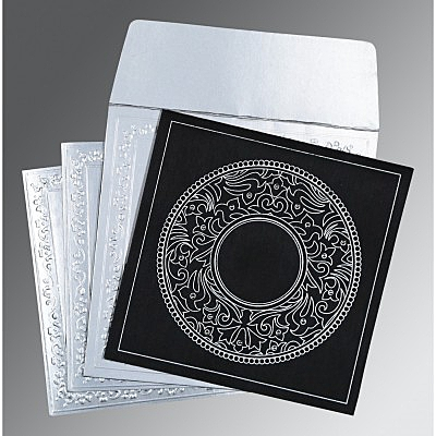 Black Wooly Screen Printed Wedding Invitations : D-8214N - 123WeddingCards