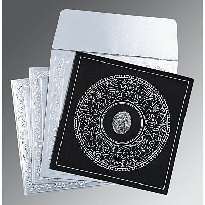 Black Wooly Screen Printed Wedding Card : I-8214N - 123WeddingCards