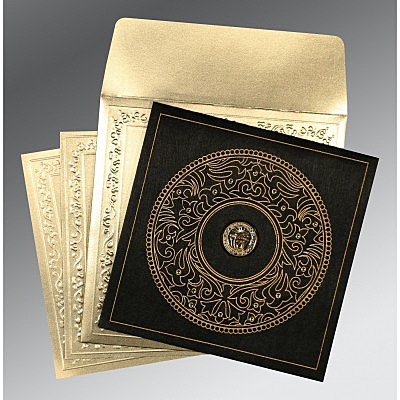 Black Wooly Screen Printed Wedding Invitations : RU-8214D - 123WeddingCards