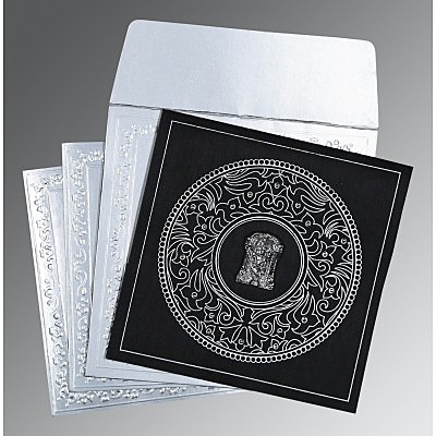 Black Wooly Screen Printed Wedding Card : SO-8214N - 123WeddingCards