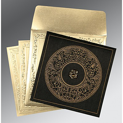 Black Wooly Screen Printed Wedding Invitations : W-8214D - 123WeddingCards