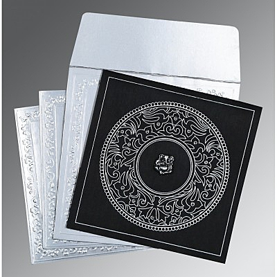 Black Wooly Screen Printed Wedding Card : W-8214N - 123WeddingCards