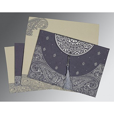 Blue Handmade Cotton Embossed Wedding Card : C-8234J - 123WeddingCards