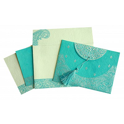 Blue Handmade Cotton Embossed Wedding Card : RU-8234K - 123WeddingCards