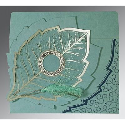 Blue Handmade Cotton Floral Themed - Foil Stamped Wedding Card : D-8219N - 123WeddingCards