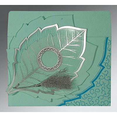 Blue Handmade Cotton Floral Themed - Foil Stamped Wedding Card : W-8219C - 123WeddingCards