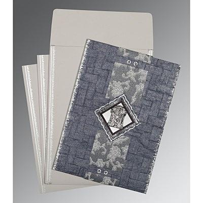 Blue Handmade Cotton Screen Printed Wedding Card : SO-1277 - 123WeddingCards