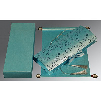 Blue Handmade Shimmer Wedding Invitation : SC-5007D - 123WeddingCards