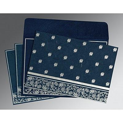 Blue Handmade Silk Screen Printed Wedding Card : IN-8215I - 123WeddingCards