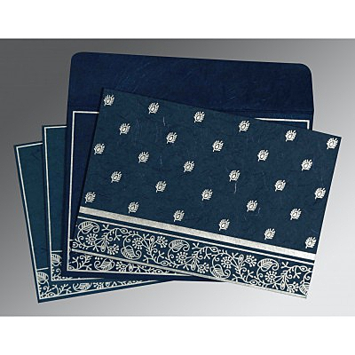 Blue Handmade Silk Screen Printed Wedding Card : RU-8215I - 123WeddingCards