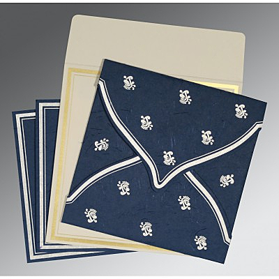 Blue Handmade Silk Unique Themed - Screen Printed Wedding Card : I-8203F - 123WeddingCards